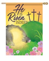 He Is Risen, Indeed, Empty Tomb, Flag, Large