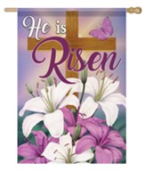 He Is Risen, Lilies and Cross, Flag, Large