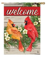 Welcome, Wreath with Cardinals, Flag, Large