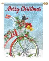 Merry Christmas, Bike, Flag, Large