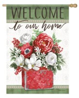 Welcome to Our Home, Flowers, Flag, Large