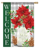 Welcome, Pinecones and Poinsettias, Flag, Large