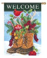 Welcome, Christmas Boots, Flag, Large