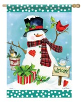 Welcome, Snowman, Cardinal, Flag, Large