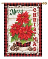 Merry Christmas, Poinsettia, Buffalo Plaid, Flag, Large