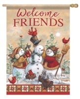 Welcome Friends, Snowman Time, Flag, Large
