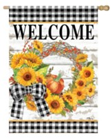 Welcome, Sunflower Wreath, Flag, Large