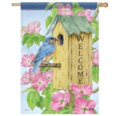 Dogwood Birdhouse Flag, Large