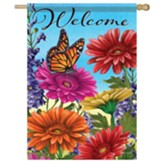 Monarch And Gerberas Flag, Large