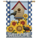 Sunflower Birdhouse Flag, Large