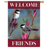 Chickadee Floral Flag, Large