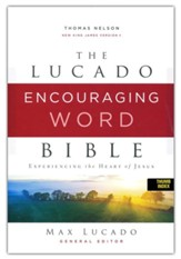 NKJV Lucado Encouraging Word Bible, Comfort Print, Leathersoft, Blue, Indexed