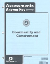 BJU Press Heritage Studies Grade 2 Assessments Answer Key:  Community and Government (4th Edition)