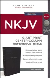 NKJV Comfort Print Reference Bible, Center Column, Giant Print, Leather-Look, Black, Indexed - Slightly Imperfect