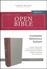 NKJV Comfort Print Open Bible, Cloth Over Board,  gray/burgundy