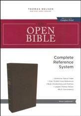 NKJV Comfort Print Open Bible, Imitation Leather, Brown