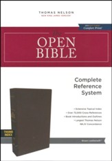 NKJV Comfort Print Open Bible, Imitation Leather, Brown, Indexed
