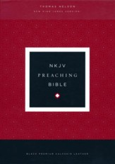 NKJV Comfort Print Preaching Bible, Premium Calfskin Leather, Black - Slightly Imperfect
