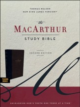 NKJV MacArthur Study Bible, Comfort Print--soft leather-look, mahogany (indexed)