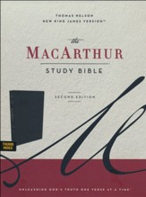 NKJV MacArthur Study Bible, Comfort Print--soft leather-look, black (indexed)