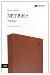 NET Comfort Print Thinline Bible--soft leather-look, brown (indexed)