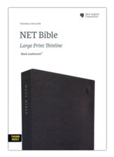 NET Large-Print Thinline Bible--soft leather-look, black (indexed)