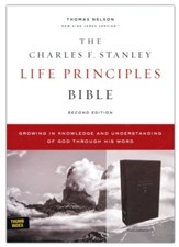 NKJV Charles F. Stanley Life Principles Bible, Comfort Print--soft leather-look, black (indexed) - Slightly Imperfect