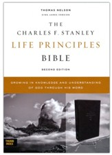 KJV Charles F. Stanley Life Principles Bible, Comfort Print--soft leather-look, black (indexed)