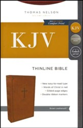 KJV, Thinline Bible, Leathersoft, Brown, Comfort Print