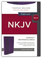 NKJV Large-Print Compact Reference Bible, Comfort Print--soft leather-look, purple (red letter)