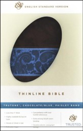 ESV Thinline Bible, TruTone, Chocolate/Blue, Paisley Band)
