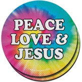 Peace, Love, and Jesus Car Coasters, Pack of 2