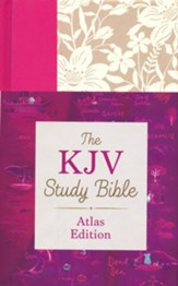 KJV Study Bible, Atlas Edition--hardcover with floral design