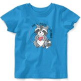 Jesus Loves This Little Rascal, Raccoon, Shirt, Turquoise, 6 Months
