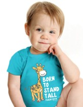 Born to Stand Tall, Giraffe, Shirt, Teal, 12 Months