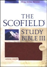 KJV Scofield Study Bible Genuine Leather, Burgundy   with Thumb-Index