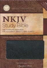 NKJV Study Bible- Large Print Edition, Black Bonded Leather - Slightly Imperfect