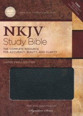 NKJV Study Bible- Large Print Edition, Black Bonded Leather  Thumb-Indexed - Imperfectly Imprinted Bibles