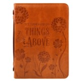Set Your Mind on Things Above Bible Cover, Leather-Like Tan, Large