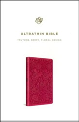 ESV UltraThin Bible, TruTone, Berry with Floral Design - Slightly Imperfect
