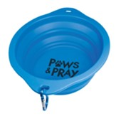 Paws And Pray Collapsible Pet Bowl, Blue