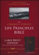 NASB Charles F. Stanley Life Principles Bible, Large Print Imitation leather, Burgundy