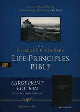 NKJV Charles F. Stanley Large Print Life Principles Bible Imitation leather, Black (indexed) - Imperfectly Imprinted Bibles