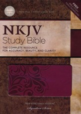 NKJV Study Bible, Second Edition, Leathersoft, cranberry - Slightly Imperfect