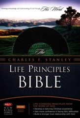 NKJV Charles F. Stanley Life Principles Bible, Leathersoft, Blue Jay and Black