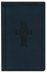 ESV Value Thinline Bible--soft leather-look, charcoal with Celtic cross design