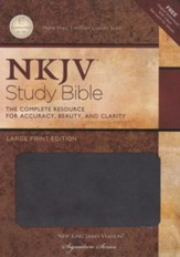 NKJV Study Bible, Large Print, Leathersoft, charcoal - Slightly Imperfect