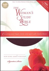 NKJV The Woman's Study Bible, Bonded leather, burgundy indexed - Imperfectly Imprinted Bibles