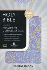 KJV Compact Ultraslim Bible, Flexible Cloth, lilac floral