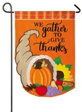 We Gather To Give Thanks, Cornucopia, Flag, Small